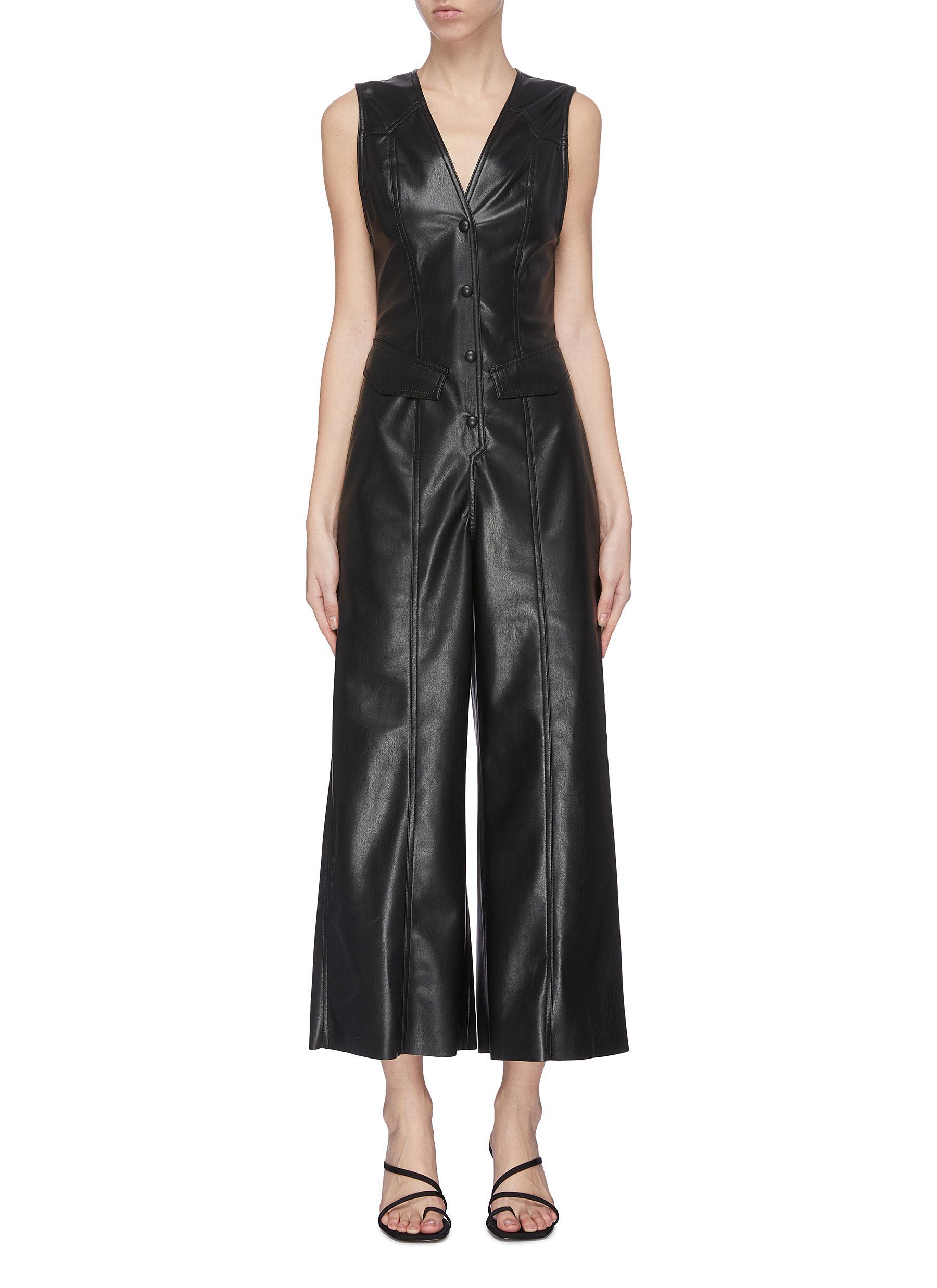 Buy Nanushka Pants & Shorts 'Freya' faux leather jumpsuit