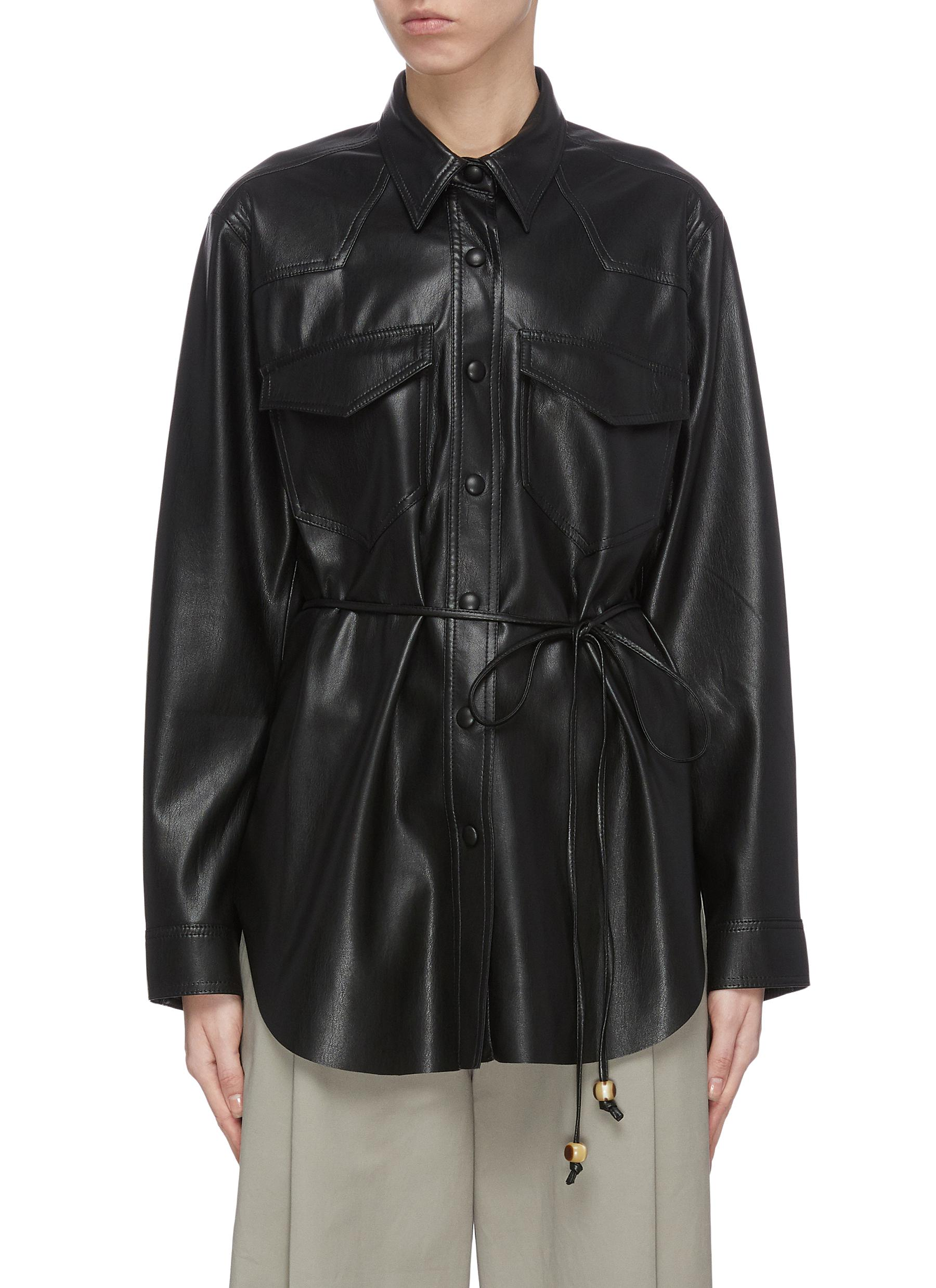 shop Nanushka 'Eddy' belted faux leather shirt online