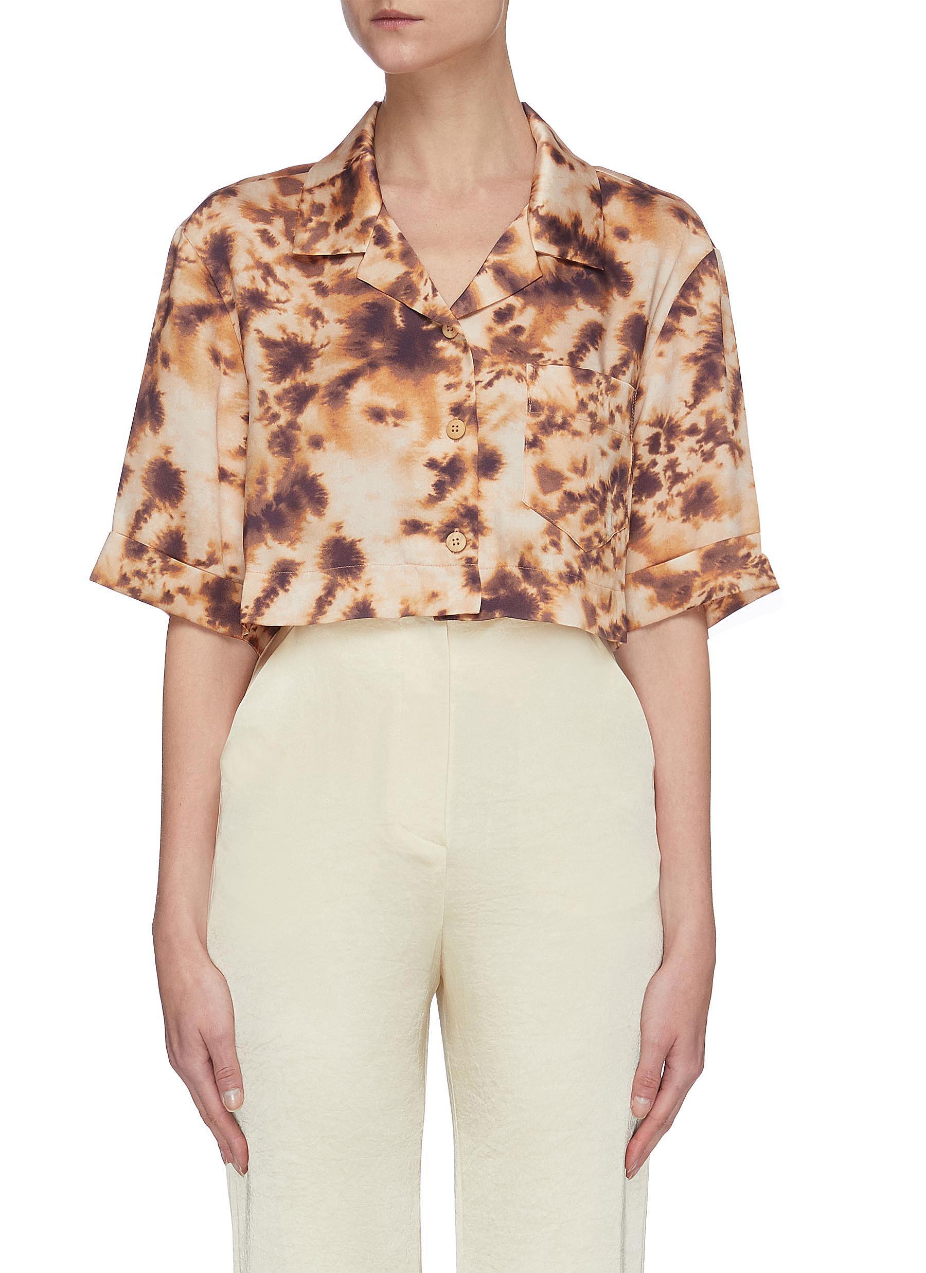 shop Nanushka 'Rhett' Crop Tie Dye Shirt online