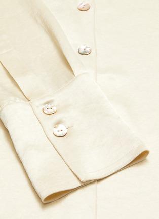 - NANUSHKA - 'Mandine' shell button satin blouse