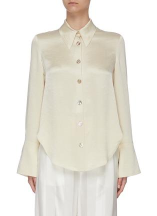 Main View - Click To Enlarge - NANUSHKA - 'Mandine' shell button satin blouse