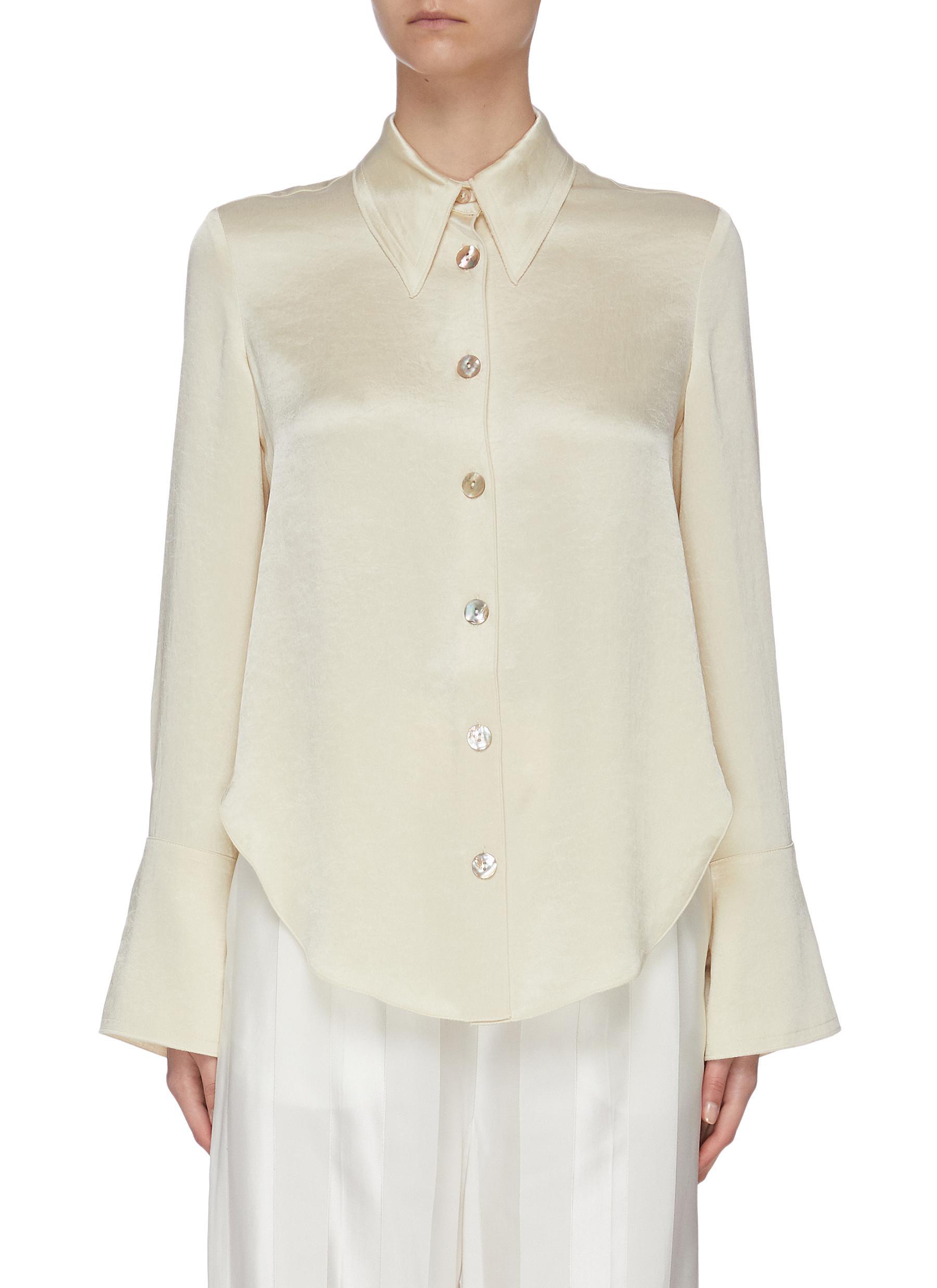 shop Nanushka 'Mandine' shell button satin blouse online