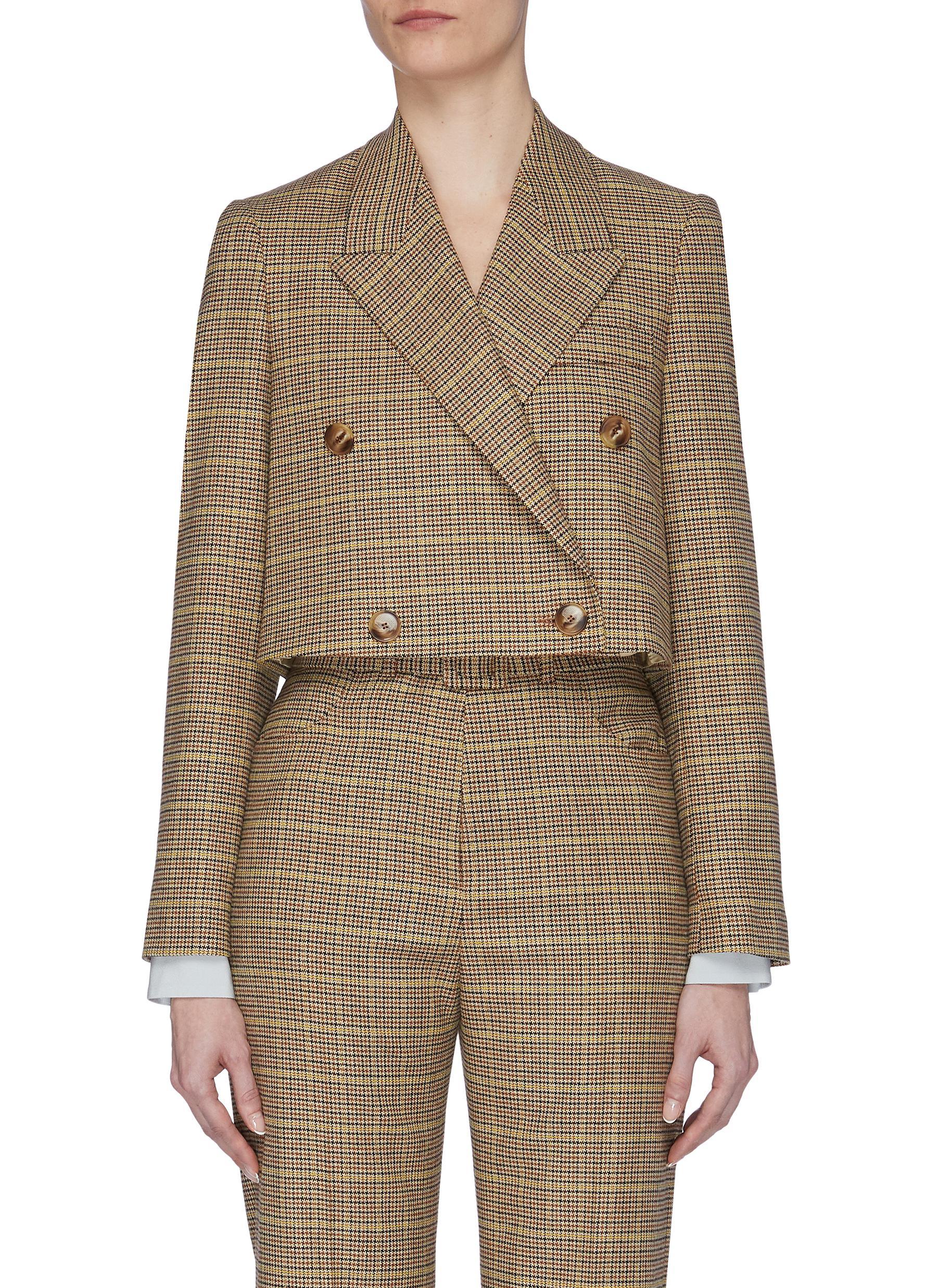 Buy Nanushka Blazers 'Moscot' checked crop blazer