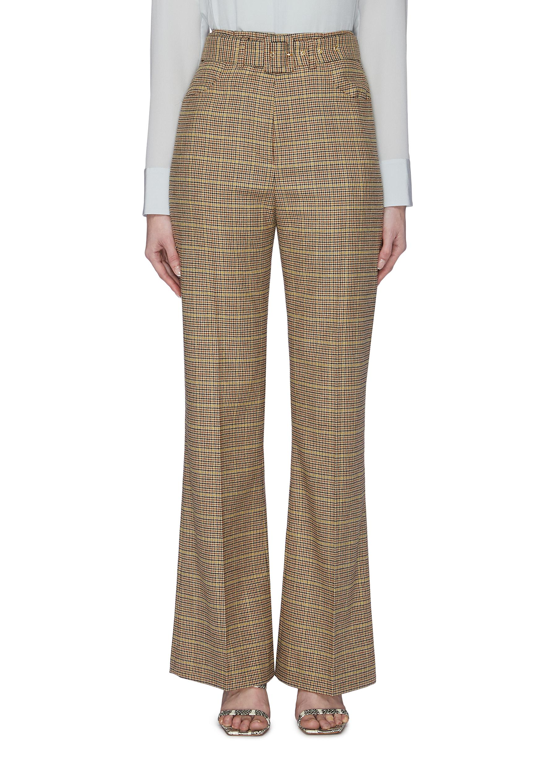 Buy Nanushka Pants & Shorts 'Clara' belted checked flared pants