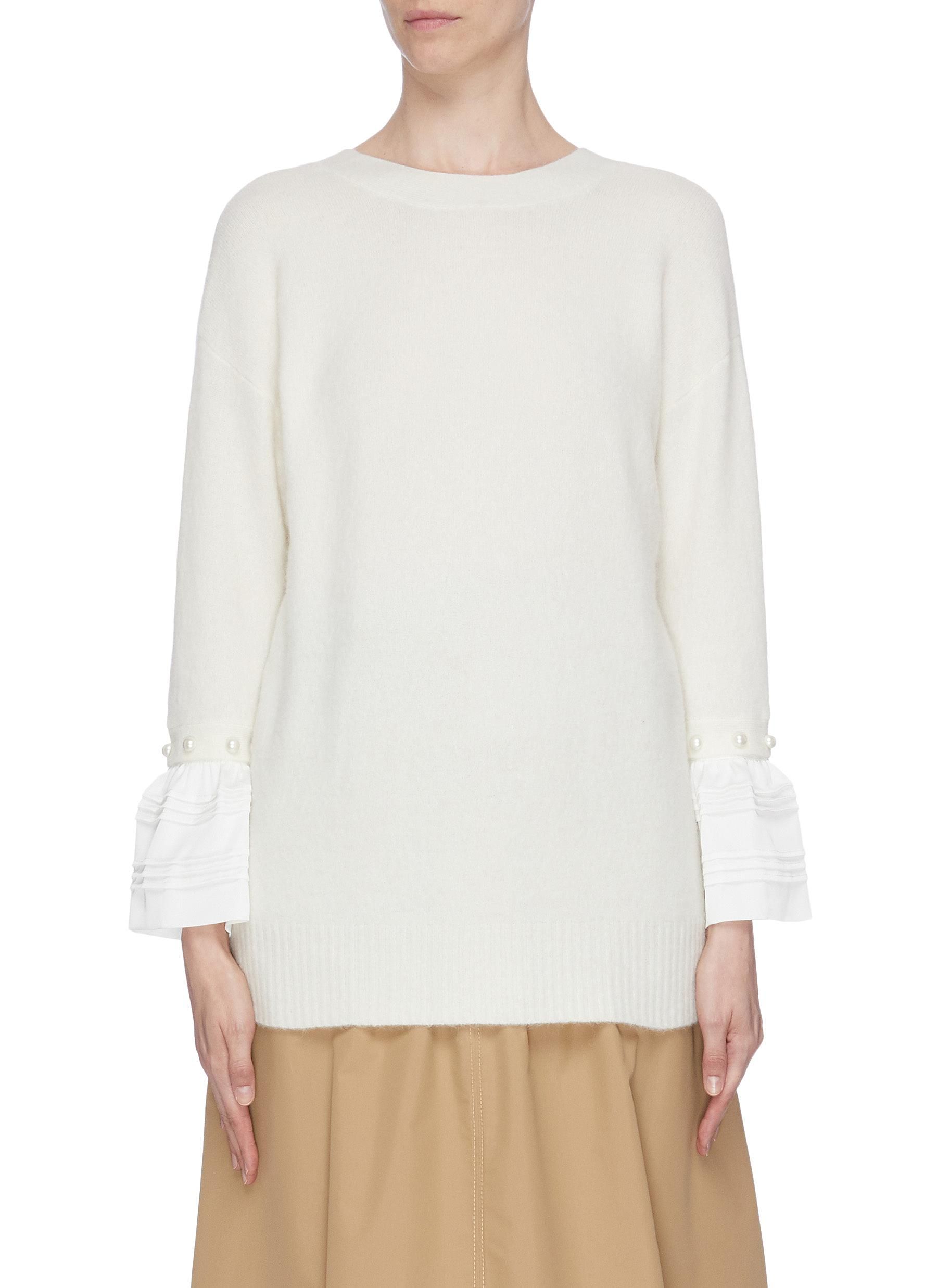 Faux pearl embellished ruffle cuff sweater by 3.1 Phillip Lim