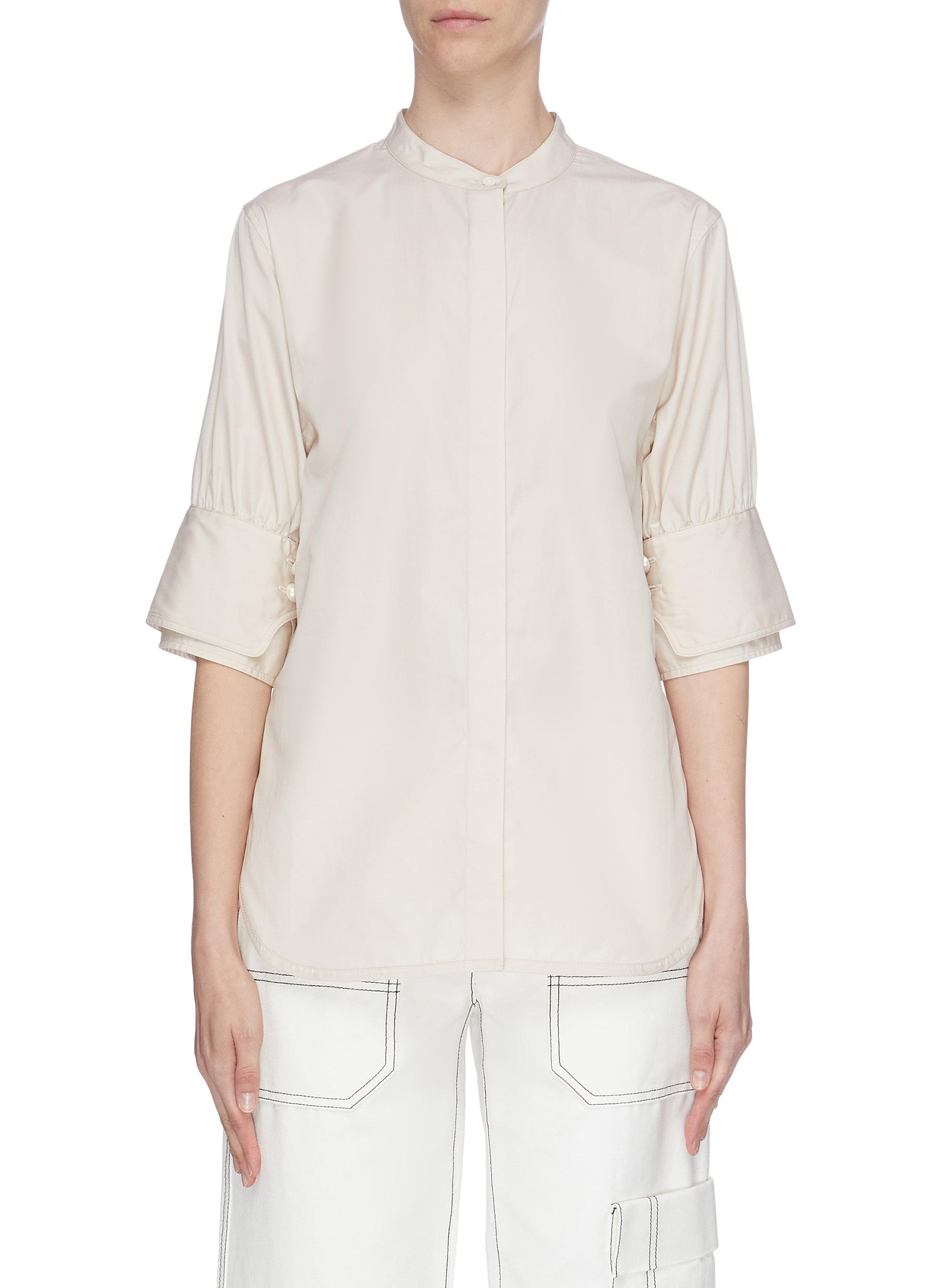 Faux pearl embellished mandarin collar shirt by 3.1 Phillip Lim