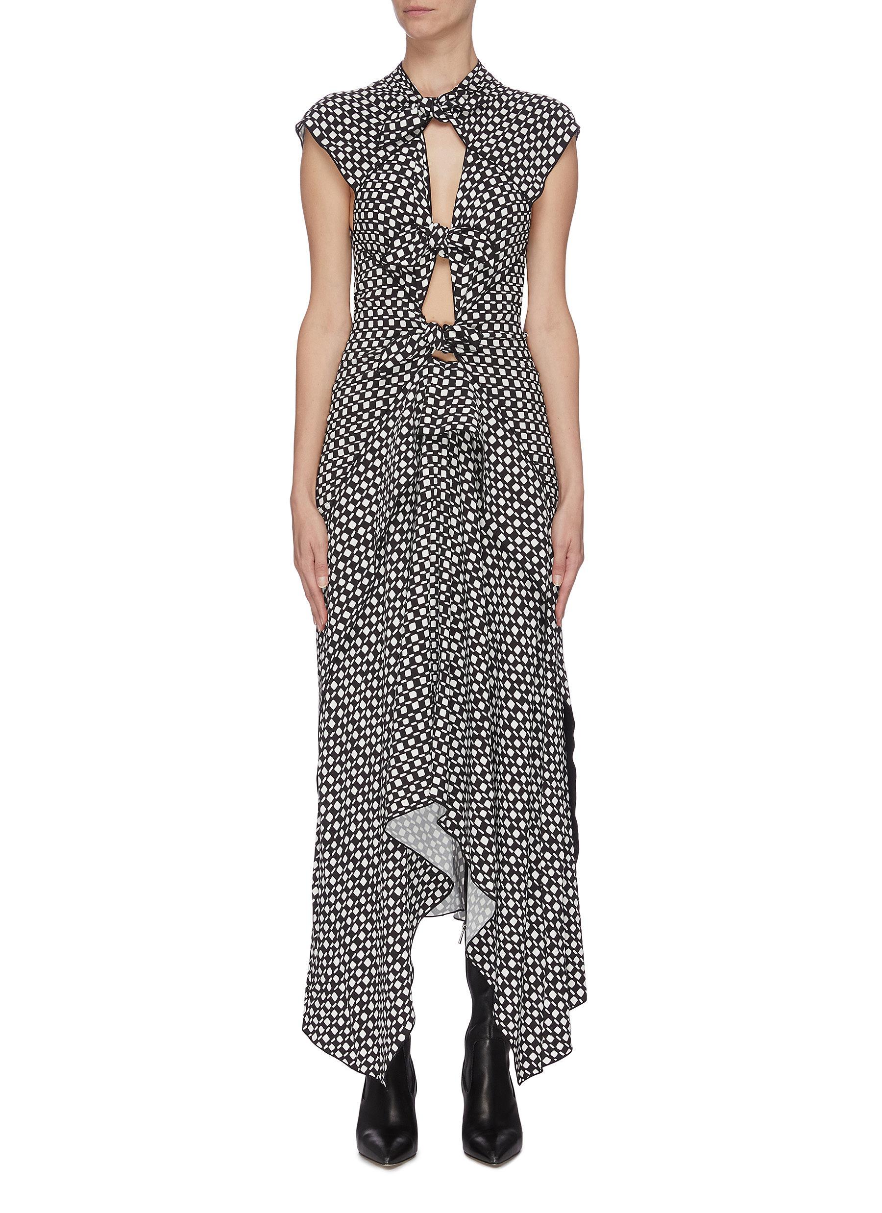 Buy Proenza Schouler Dresses Polka dot cutout gathered handkerchief sleeveless midi dress
