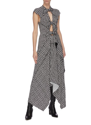 Figure View - Click To Enlarge - PROENZA SCHOULER - Polka dot cutout gathered handkerchief sleeveless midi dress