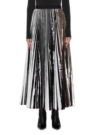 Main View - Click To Enlarge - PROENZA SCHOULER - Plissé stripe pleated maxi skirt
