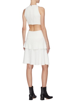 Back View - Click To Enlarge - PROENZA SCHOULER - Belted waist cutout flared sleeveless mini dress