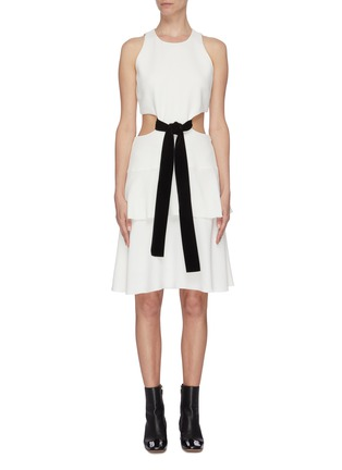 Main View - Click To Enlarge - PROENZA SCHOULER - Belted waist cutout flared sleeveless mini dress