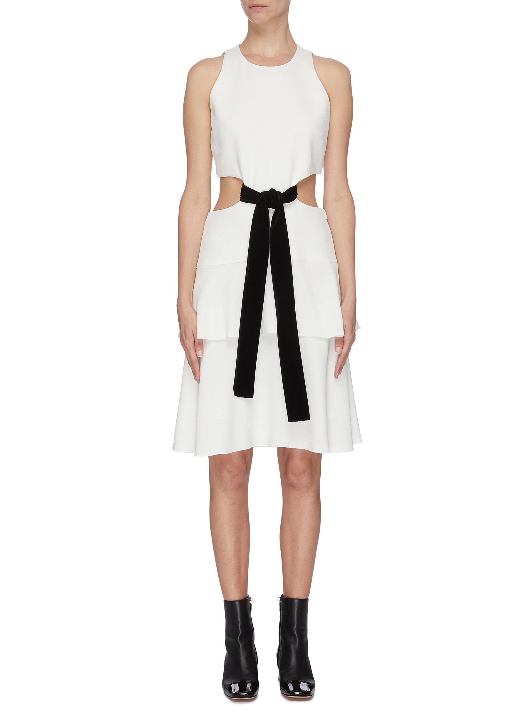 Buy Proenza Schouler Dresses Belted waist cutout flared sleeveless mini dress