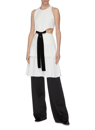 Figure View - Click To Enlarge - PROENZA SCHOULER - Belted waist cutout flared sleeveless mini dress