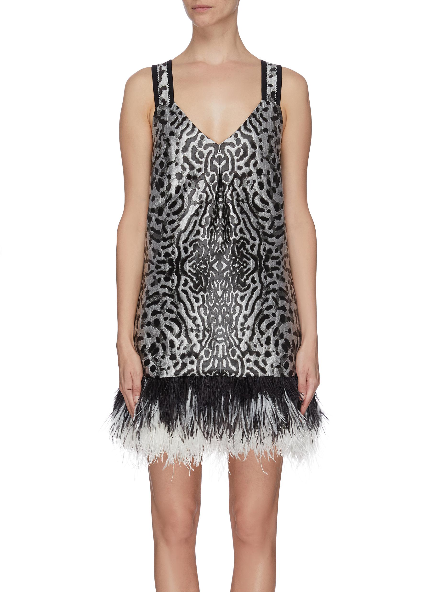 shop Proenza Schouler Leopard jacquard feather hem cross back dress online
