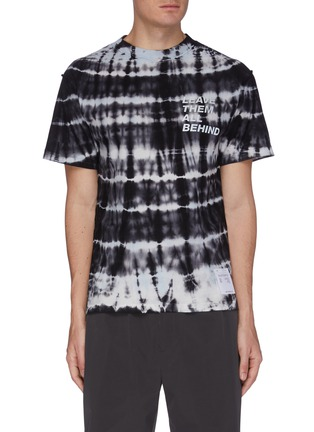 Main View - Click To Enlarge - SATISFY - 'Leave Them All Behind' Slogan Tie Dye Performance T-shirt