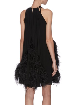 Back View - Click To Enlarge - 16ARLINGTON - Feather halter neck sleeveless dress