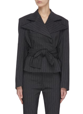Main View - Click To Enlarge - 16ARLINGTON - ''Crawford' cropped pinstripe jacket