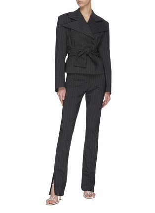 Figure View - Click To Enlarge - 16ARLINGTON - 'Crawford' cropped pinstripe jacket