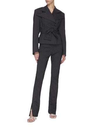 Figure View - Click To Enlarge - 16ARLINGTON - 'Wallis' pinstripe slit jeans