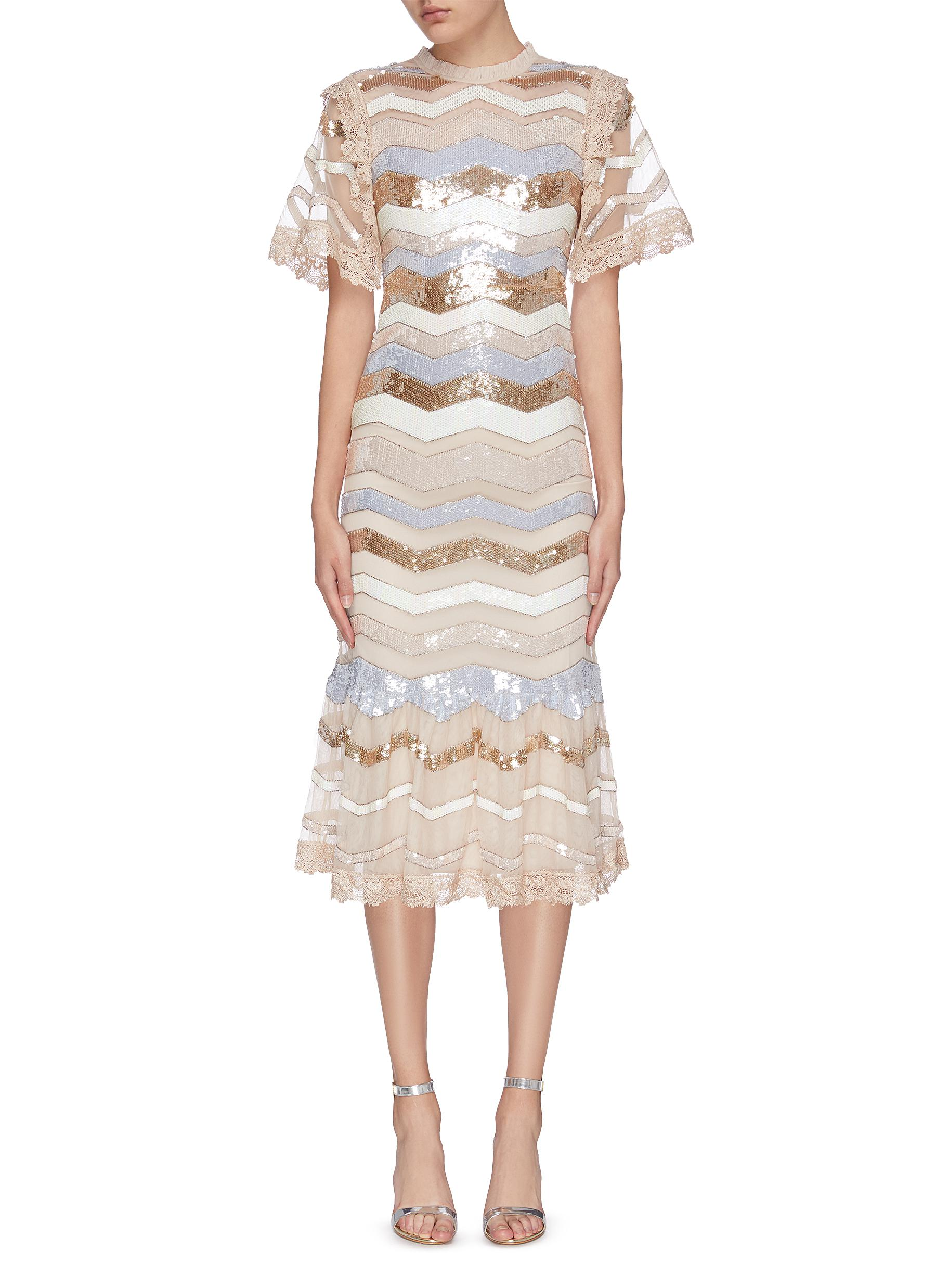 shop Needle & Thread 'Alaska' sequin embellished striped dress online