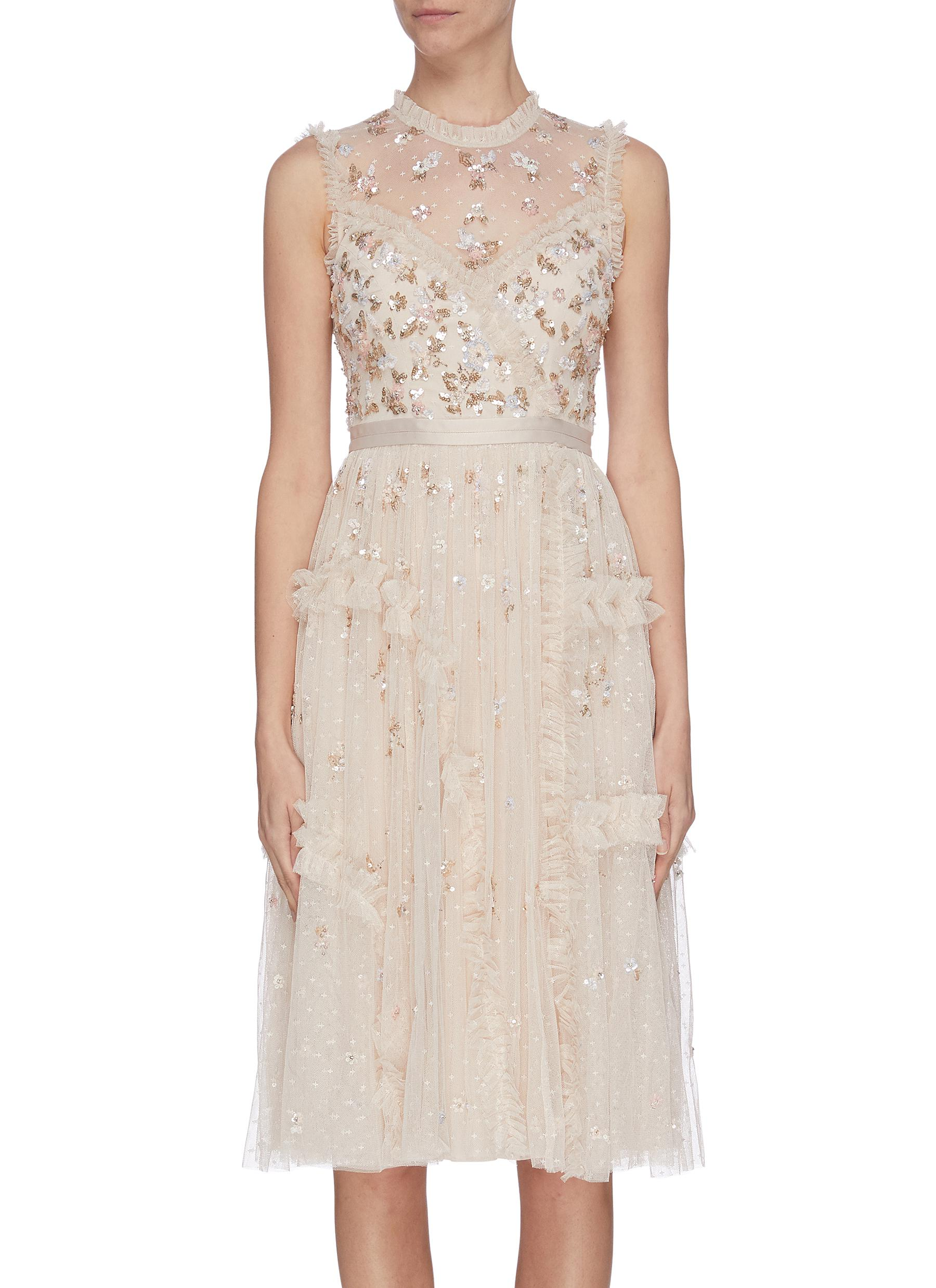 shop Needle & Thread Sequin embroidered floral sheer tulle dress online