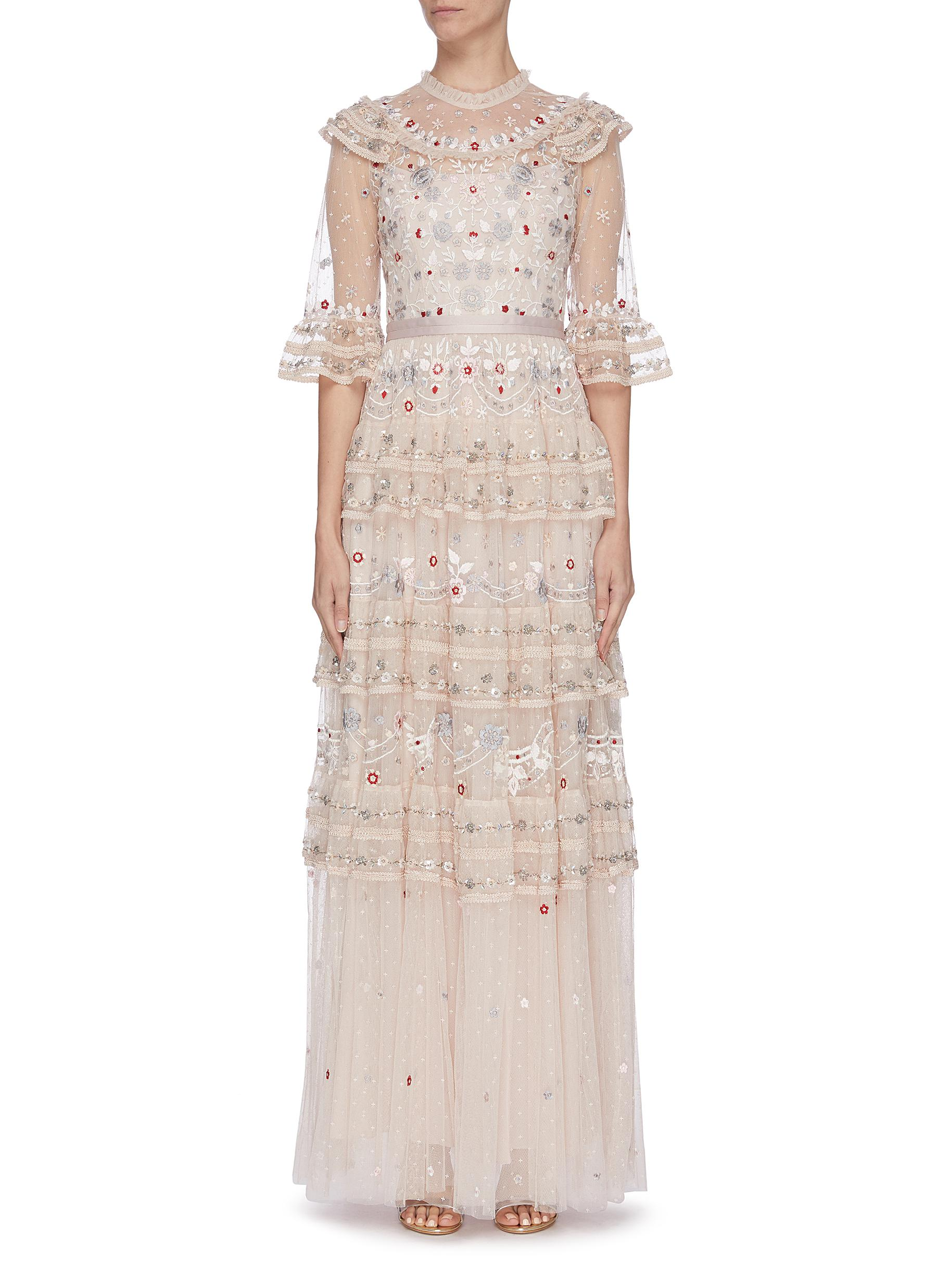 shop Needle & Thread 'Eden' floral embroidered sequin embellished lace trim ruffle tiered tulle gown online