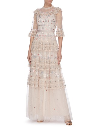 Figure View - Click To Enlarge - NEEDLE & THREAD - 'Eden' floral embroidered sequin embellished lace trim ruffle tiered tulle gown