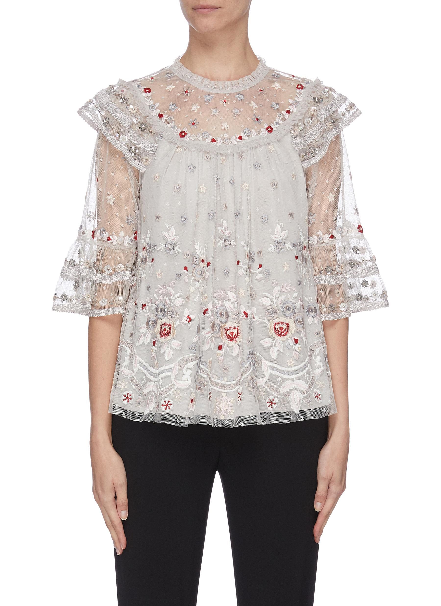 Buy Needle & Thread Tops 'Eden' floral embroidered sequin embellished lace trim ruffle flared tulle top