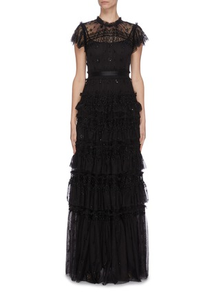 Main View - Click To Enlarge - NEEDLE & THREAD - 'Andromeda' sequin embellished lace trim ruffle tiered tulle gown