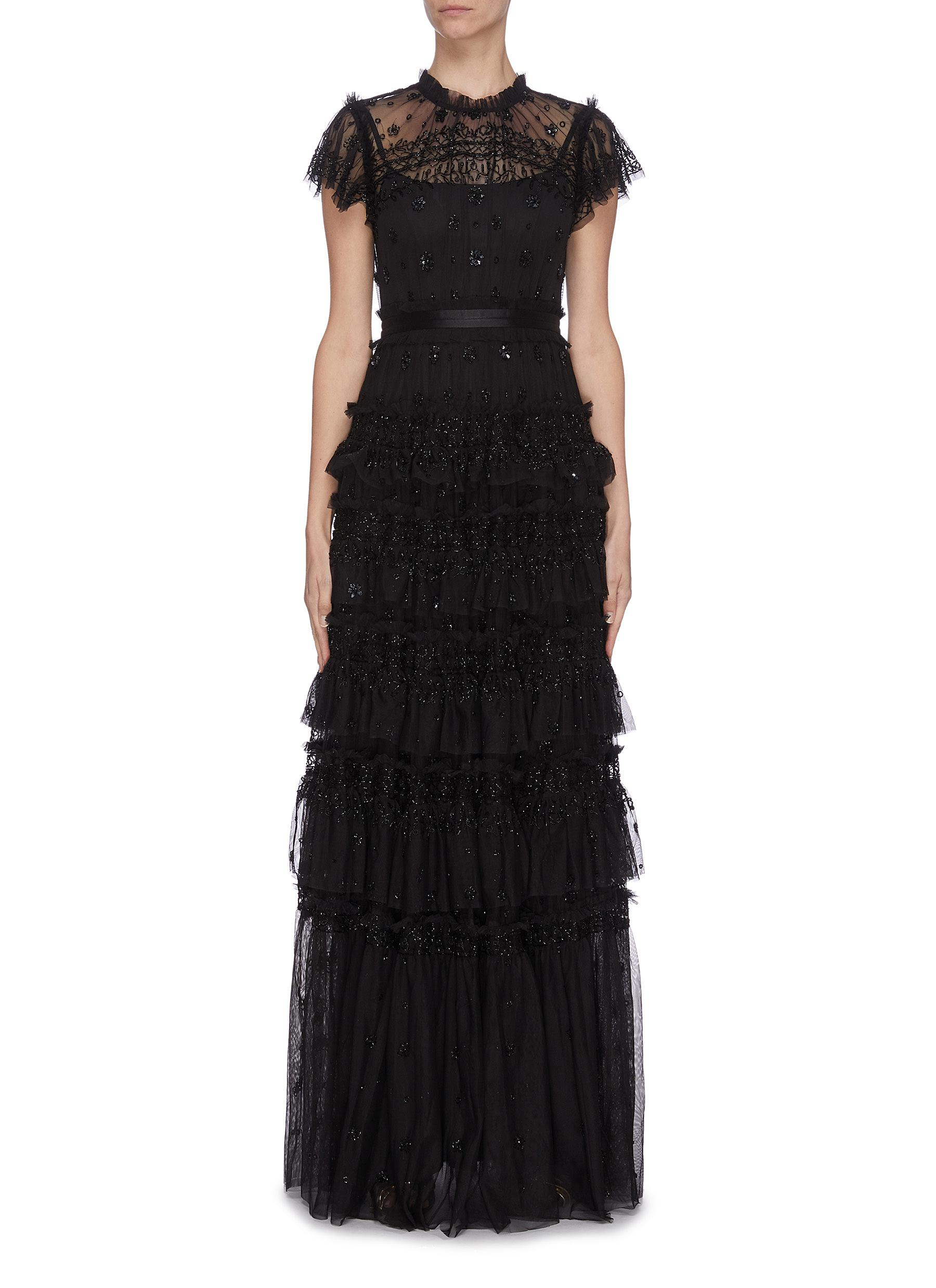 Buy Needle & Thread Dresses 'Andromeda' sequin embellished lace trim ruffle tiered tulle gown