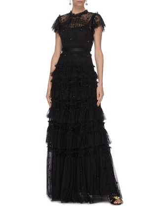 Figure View - Click To Enlarge - NEEDLE & THREAD - 'Andromeda' sequin embellished lace trim ruffle tiered tulle gown