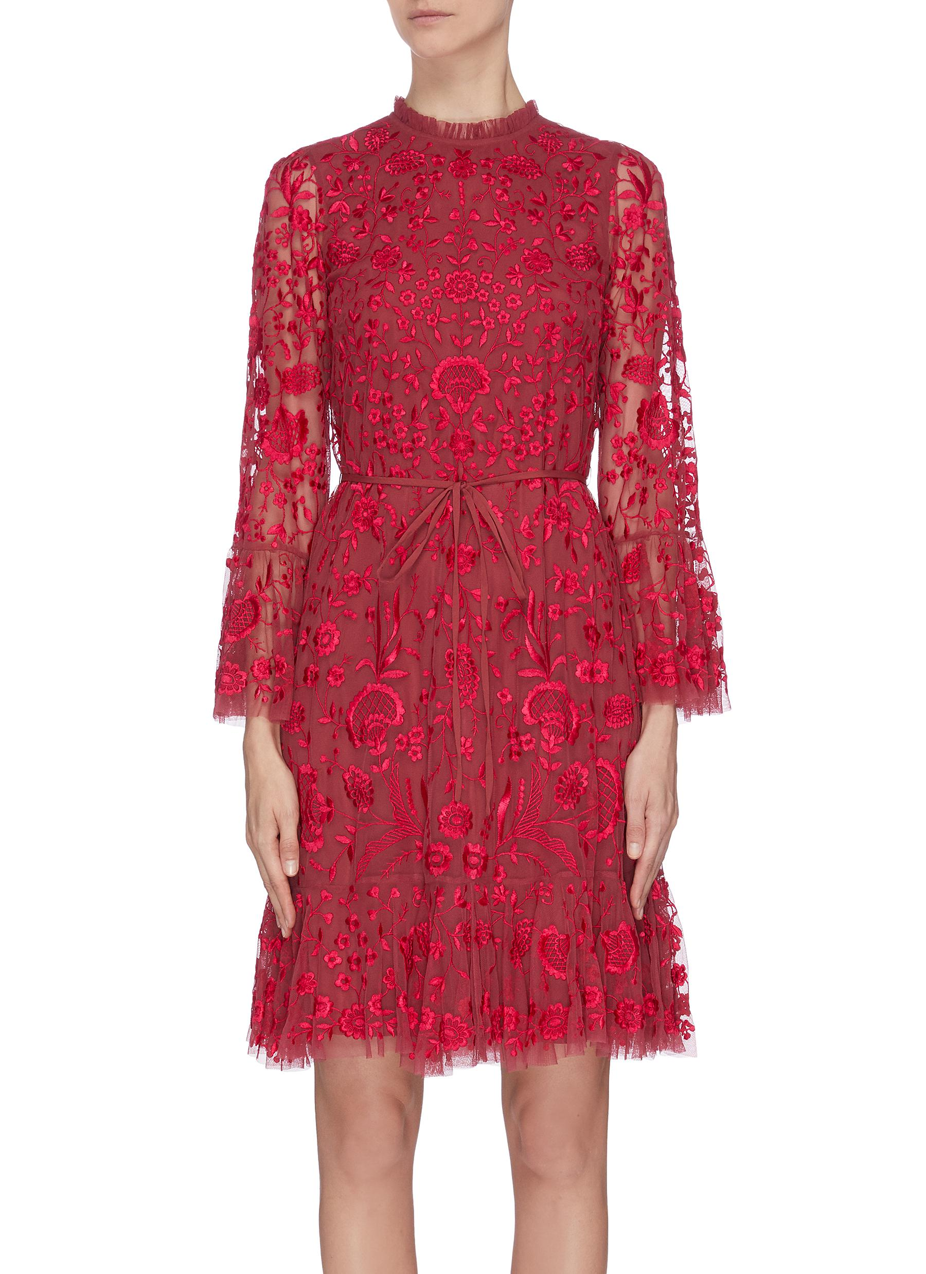 Buy Needle & Thread Dresses 'Demetria' floral embroidery mini dress
