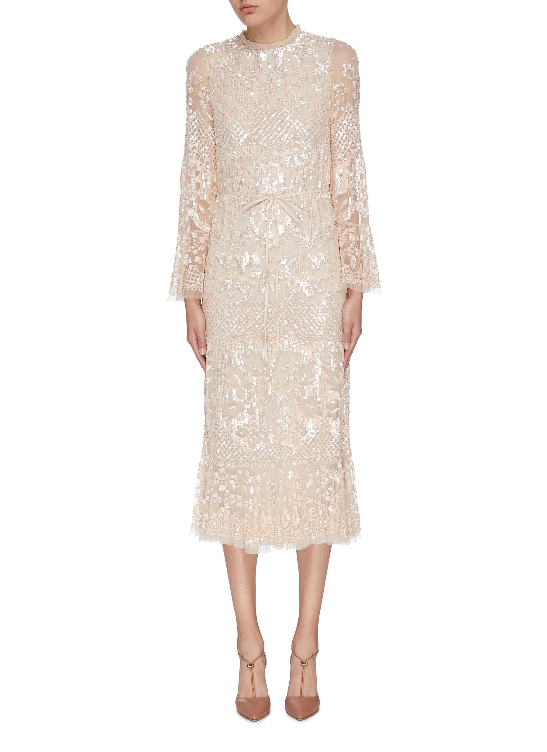 Buy Needle & Thread Dresses 'Snowdrop' sequin embellished embroidered dress