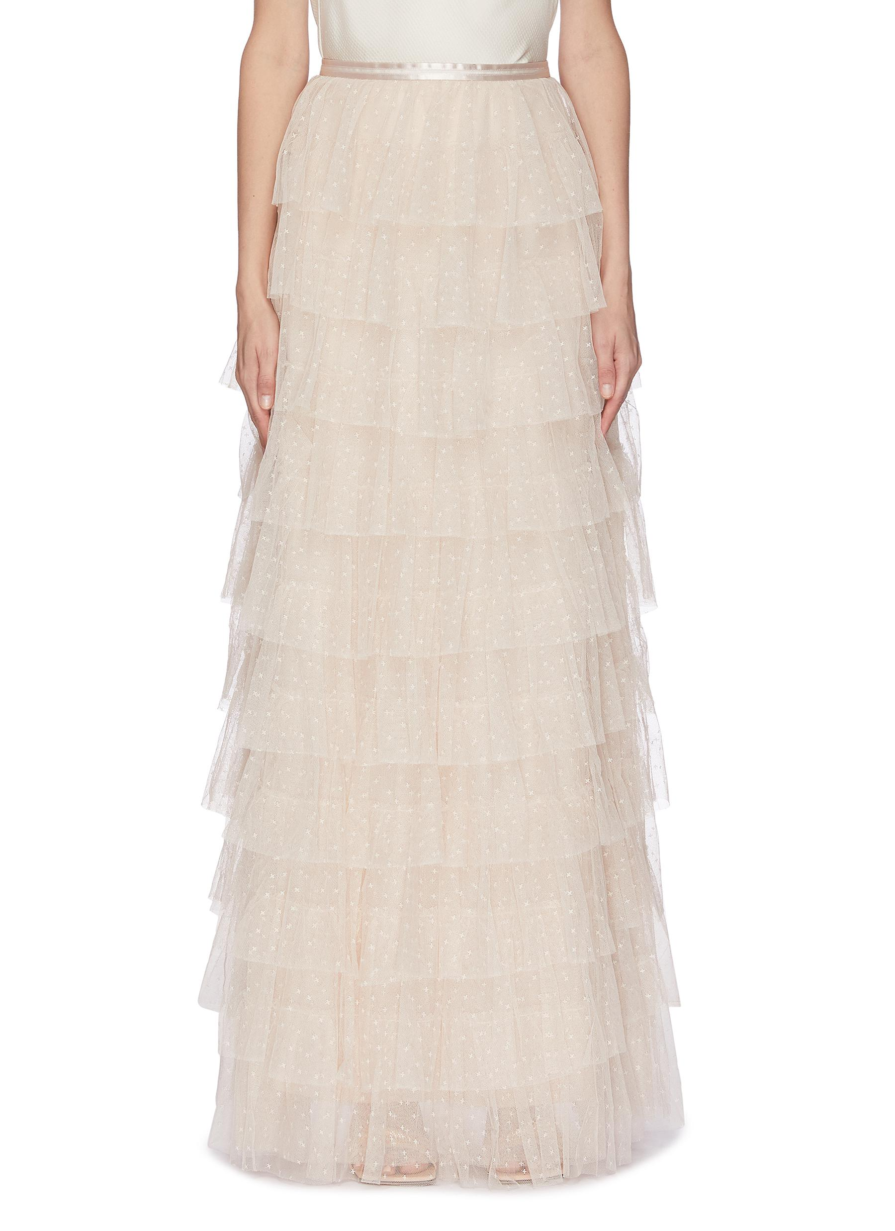 shop Needle & Thread Ruffled layered maxi skirt online
