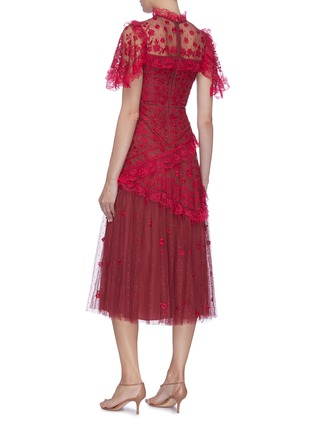 Back View - Click To Enlarge - NEEDLE & THREAD - 'Elsa Ballerina' floral embroidered lace trim ruffle tiered tulle midi dress