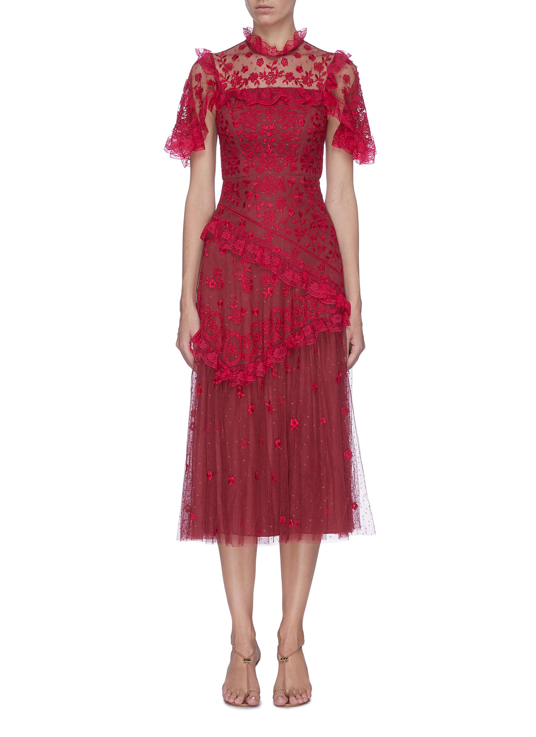 Buy Needle & Thread Dresses 'Elsa Ballerina' floral embroidered lace trim ruffle tiered tulle midi dress