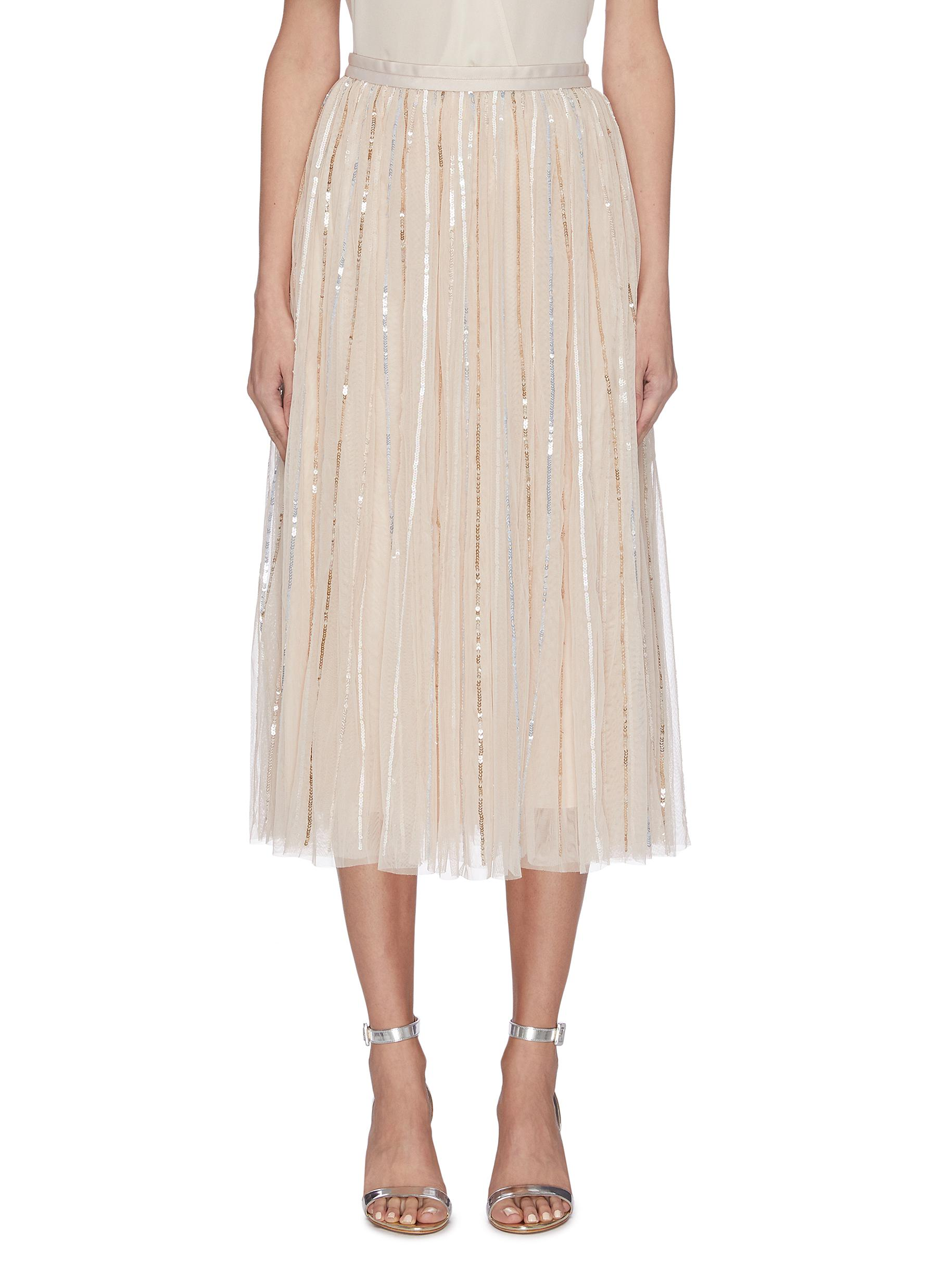 shop Needle & Thread Sequin embellished tulle midi skirt online