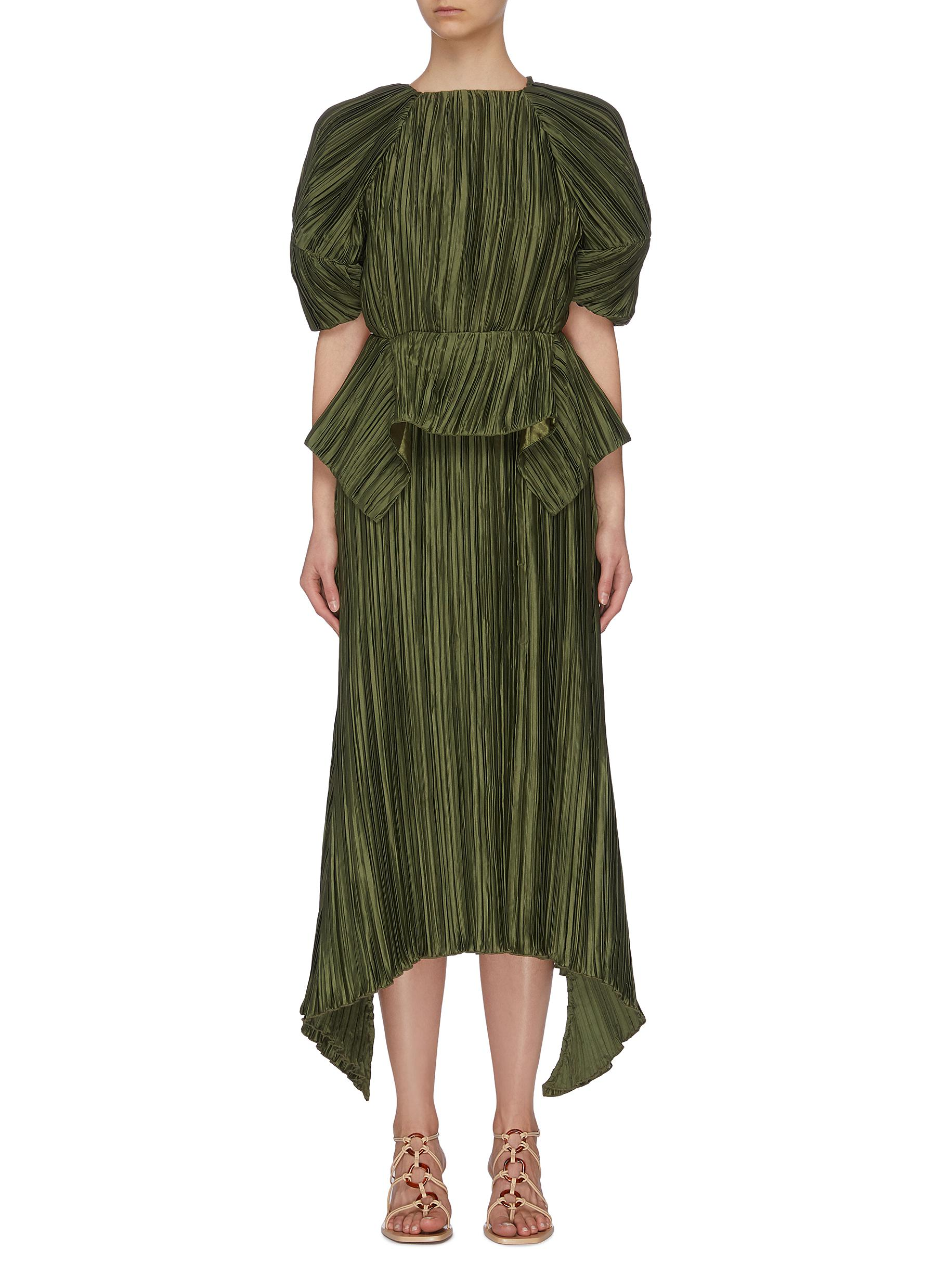 shop Cult Gaia Puffy sleeve cut out back pleated midi dress online