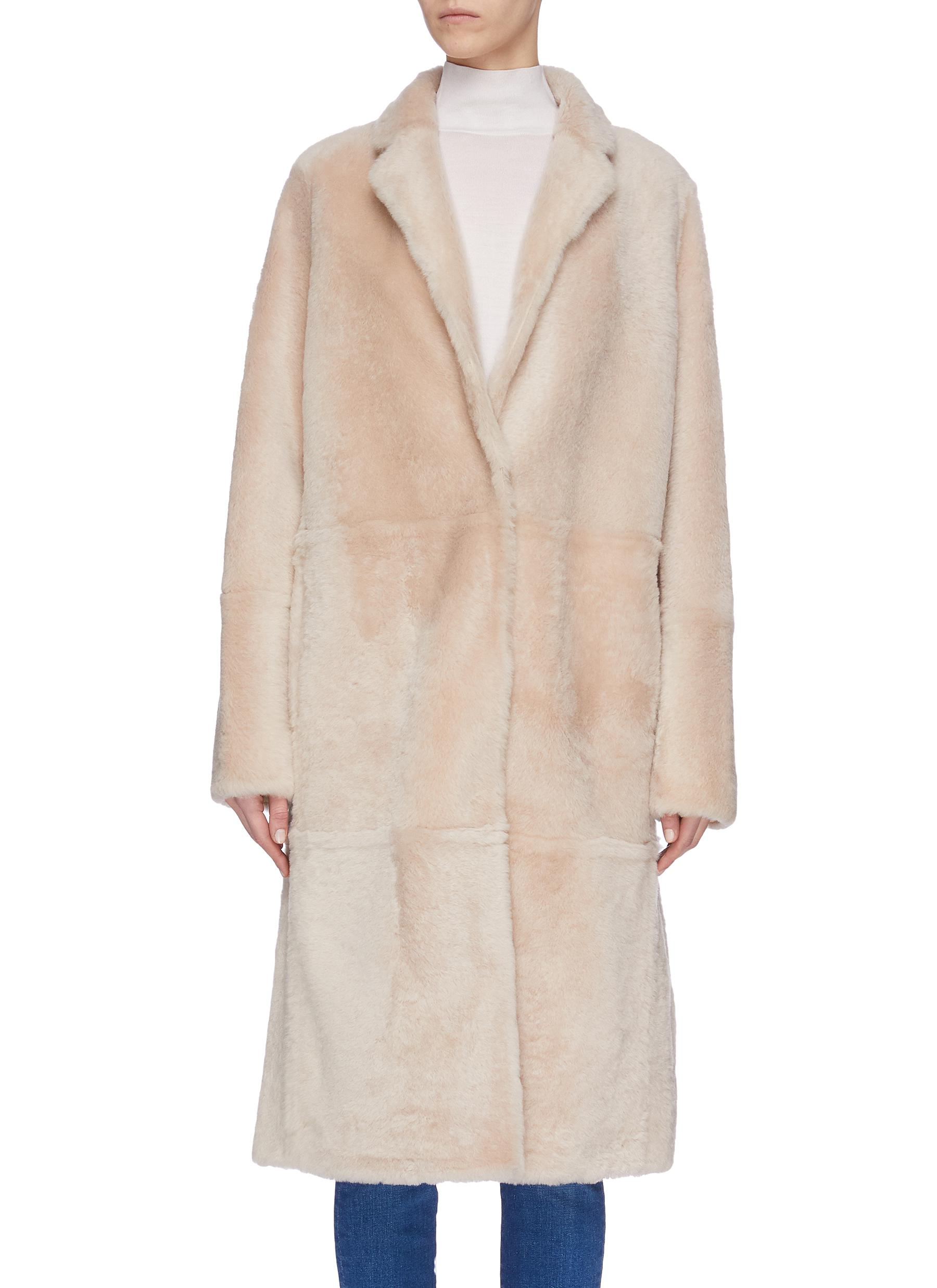shop Yves Salomon 'Lacon' lambskin leather fur coat online