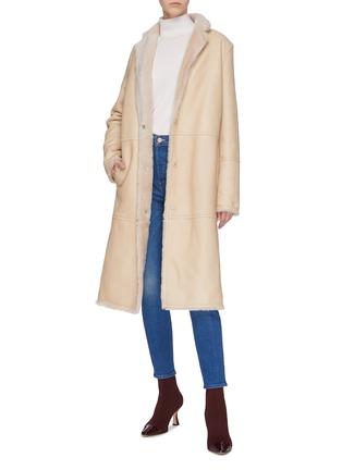 Figure View - Click To Enlarge - YVES SALOMON - 'Lacon' lambskin leather fur coat