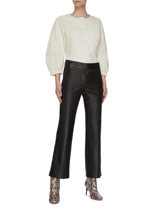 Figure View - Click To Enlarge - YVES SALOMON - Puff sleeve lambskin leather jacket