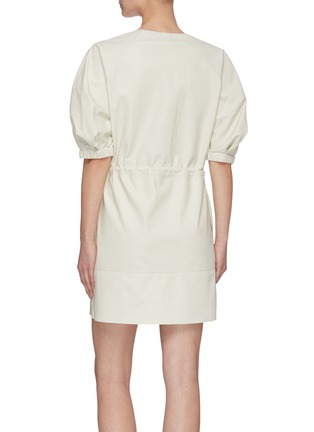 Back View - Click To Enlarge - YVES SALOMON - V neck puff sleeve lambskin leather dress