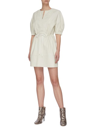 Figure View - Click To Enlarge - YVES SALOMON - V neck puff sleeve lambskin leather dress