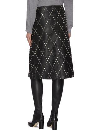 Back View - Click To Enlarge - YVES SALOMON - Stud embellished lambskin leather mini skirt