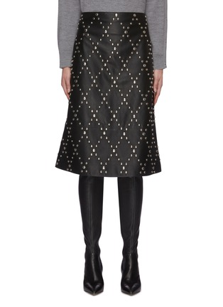 Main View - Click To Enlarge - YVES SALOMON - Stud embellished lambskin leather mini skirt
