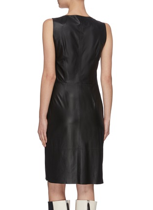 Back View - Click To Enlarge - YVES SALOMON - Sleeveless lambskin leather twist dress