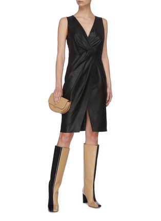 Figure View - Click To Enlarge - YVES SALOMON - Sleeveless lambskin leather twist dress