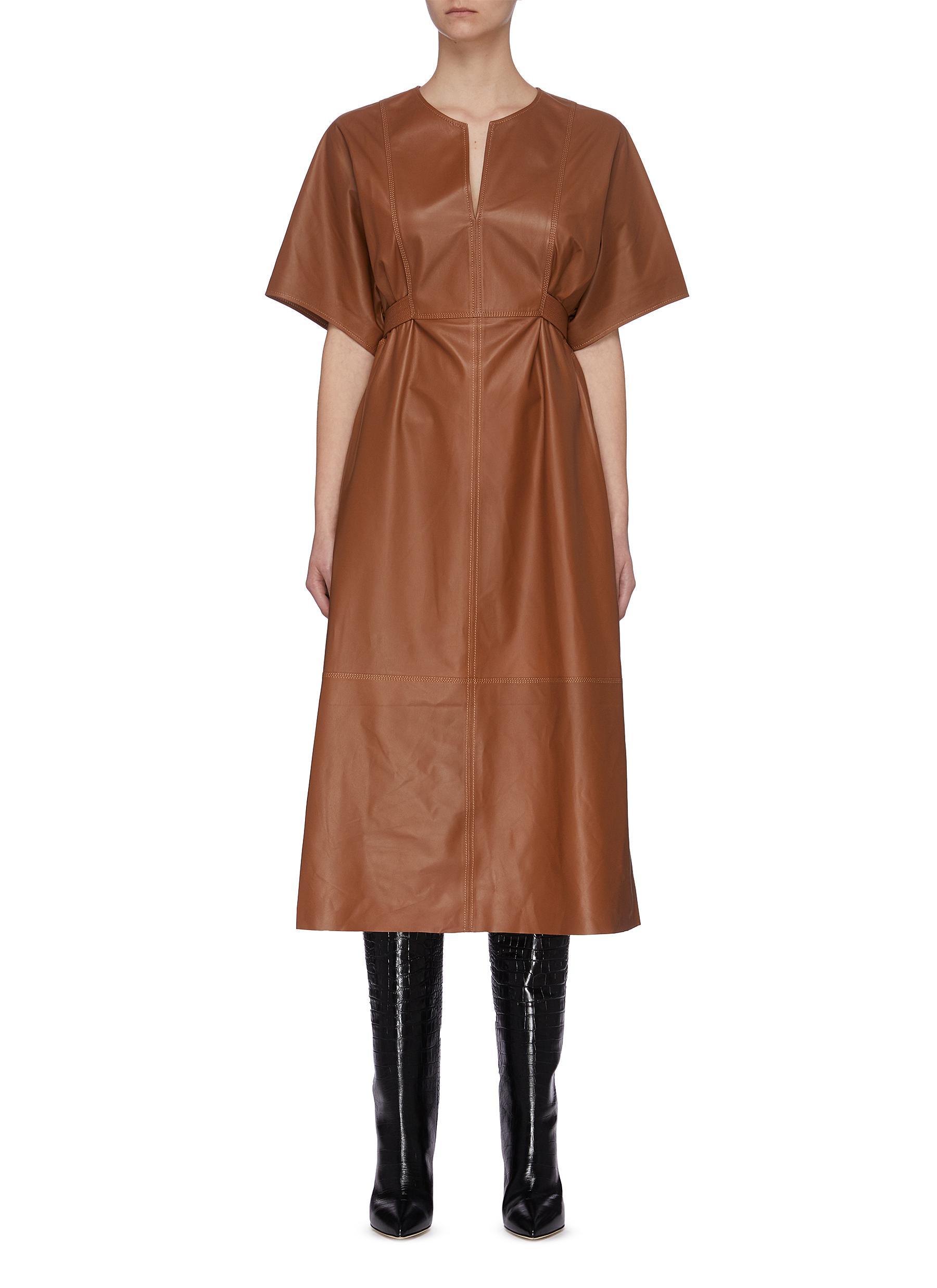 shop Yves Salomon V neck short sleeve lambskin leather dress online