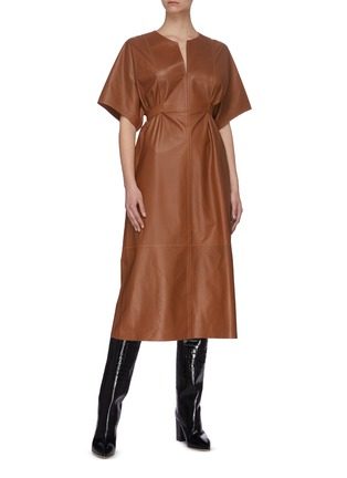 Figure View - Click To Enlarge - YVES SALOMON - V neck short sleeve lambskin leather dress