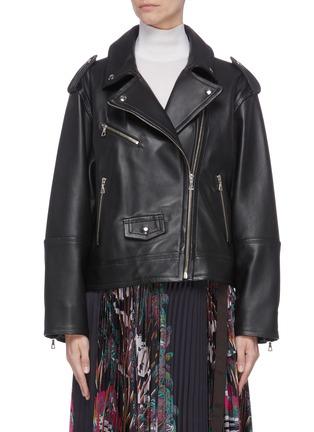 Main View - Click To Enlarge - YVES SALOMON - Lambskin leather biker jacket